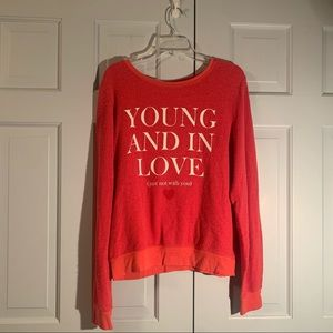 Wild fox Young and in Love Red Sweatshirt
